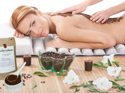 Coffee peeling body massage
